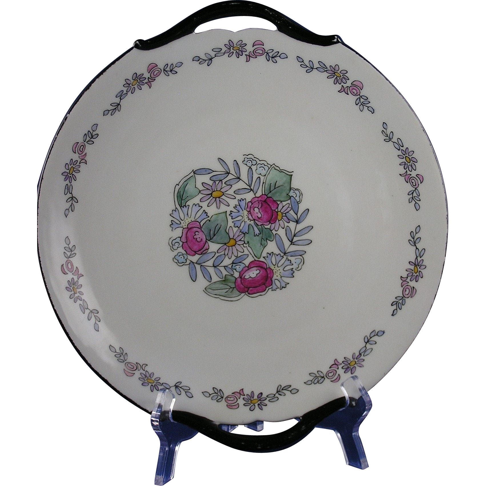 "Limoges Mark 6 Arts & Crafts Floral Motif Handled Plate (Signed ""Irene Barker""/c.1891-1930)"