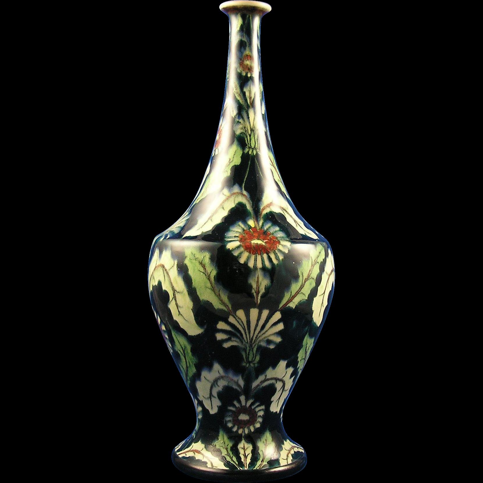 """Royal Bonn Art Nouveau """"Old Dutch"""" Thistle/Floral Vase (c.1890-1920)"""
