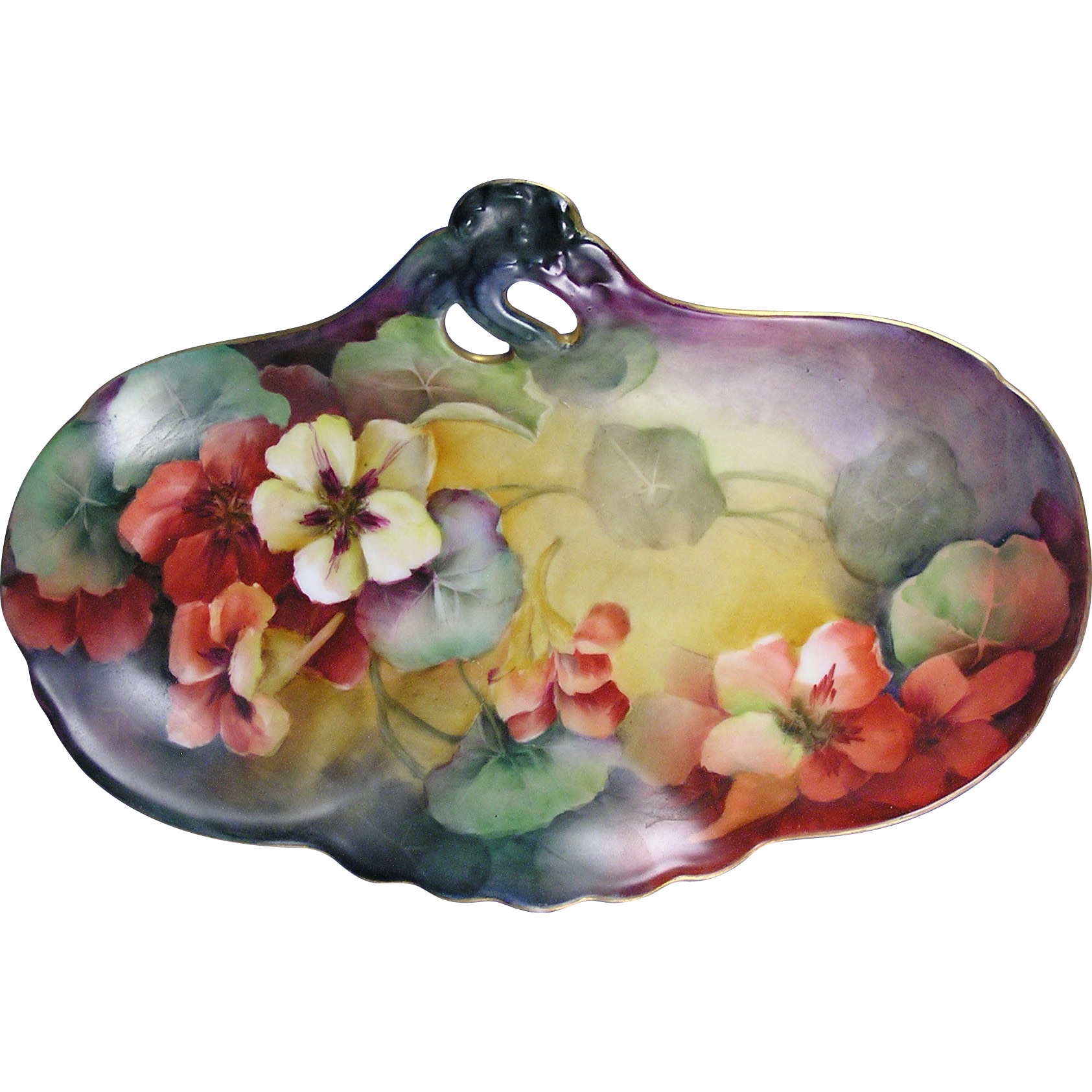 """Delinieres & Co. (D&Co.) Limoges Nasturtium Motif Handled Tray (Signed """"A. Schirch""""/c.1894-1900)"""