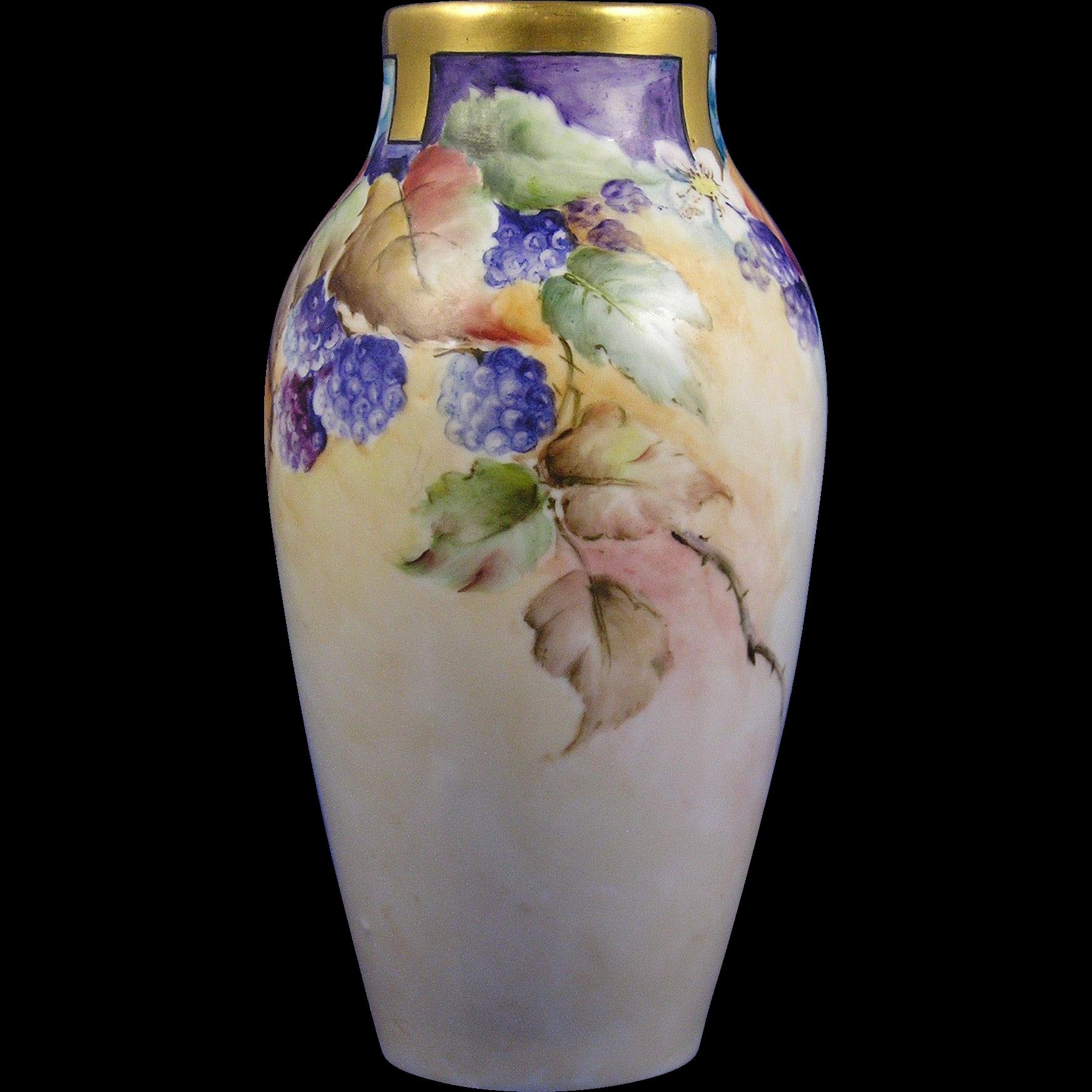Wehinger Czechoslovakia Raspberry Motif Vase (c.1918-1936)