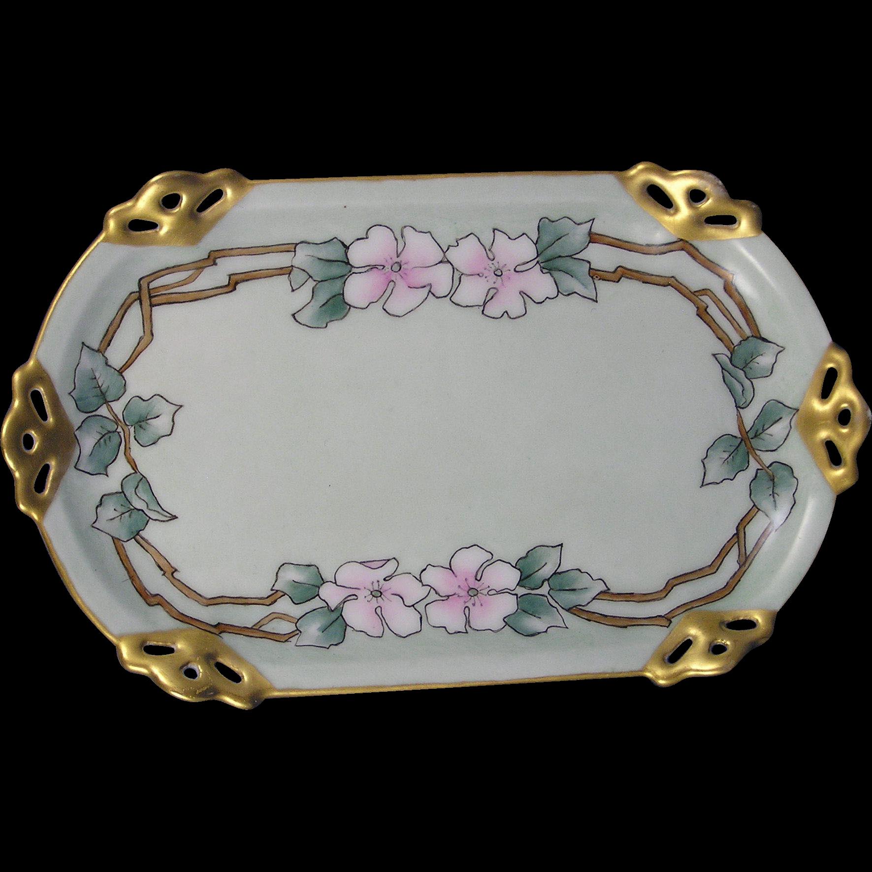 Moritz Zdekauer (MZ) Austria Arts & Crafts Floral Motif Pin Dish/Tray (c.1884-1909)