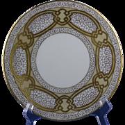 """Favorite Bavaria Arts & Crafts Floral & Gold Design Plate (Signed """"O. Mancl.""""/c.1910-1930)"""