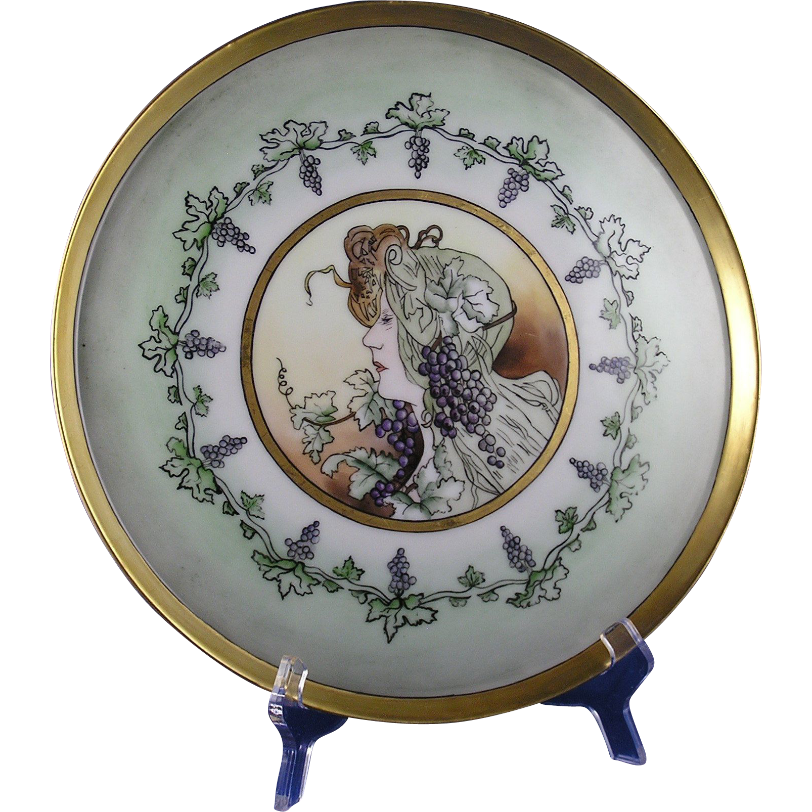 Tressemann & Vogt (T&V) Limoges Grapes Mucha Style Tray/Plate (c.1892-1907)
