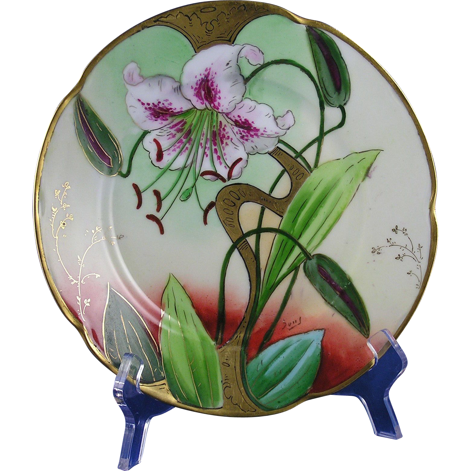 Jaeger & Co. (JC) Bavaria Graves China Co. St. Louis Lily Design Plate (Signed/c.1905-1930)