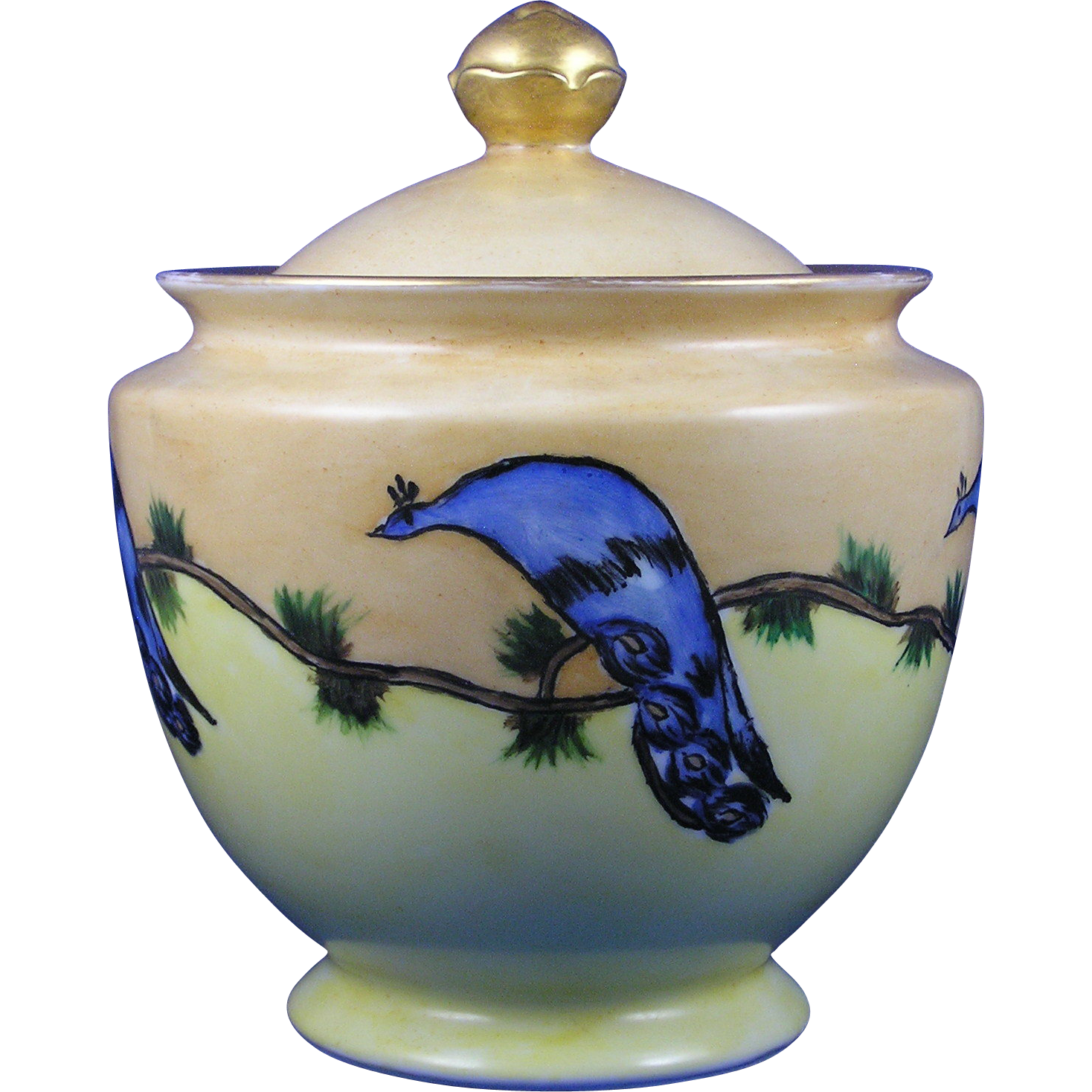 Porcelain Blank Arts & Crafts Peacock Motif Biscuit Jar (c.1910-1930) - Keramic Studio Design