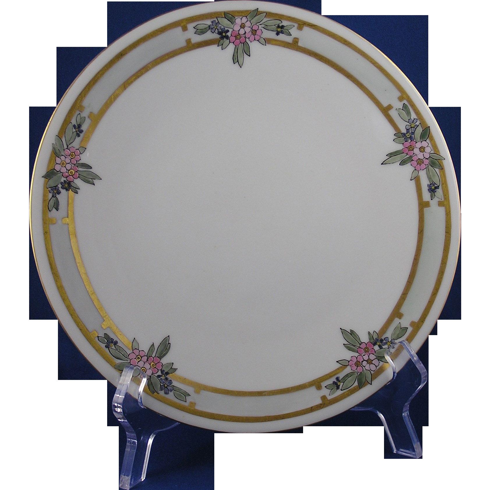 Bavaria Arts & Crafts Enameled Floral Motif Plate (c.1910-1930)