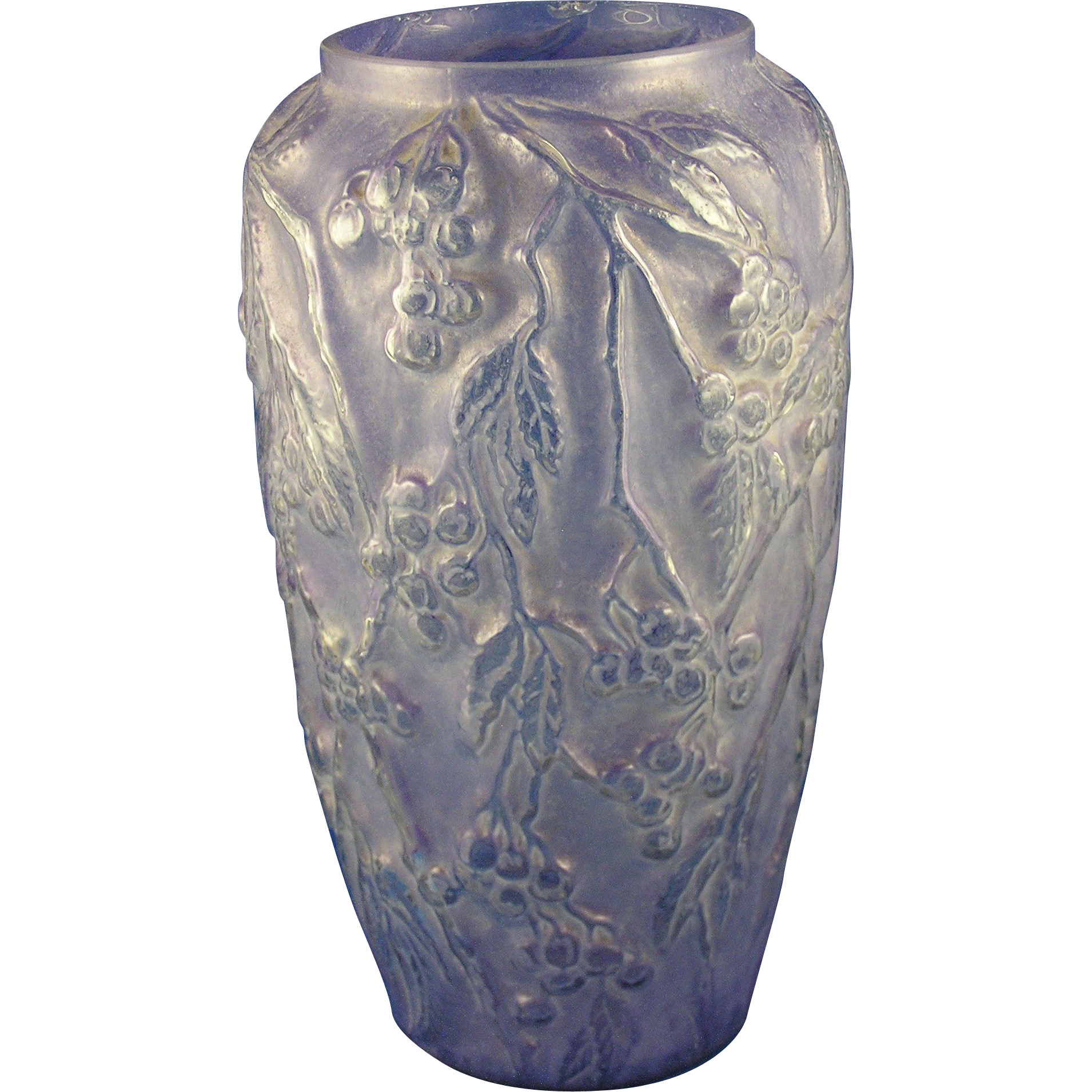 "Consolidated Glass Purple Wash ""Bittersweet"" Design Vase (c.1920's)"