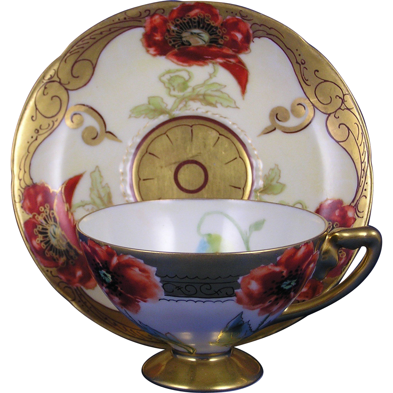 William Guerin & Co. (WG&Co.) Limoges & Rosenthal Bavaria Pickard Studio Poppy Design Cup & Saucer (c.1905-1910)
