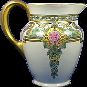"Bernardaud & Co. (B&Co.) Limoges Arts & Crafts Floral & Butterfly Design Pitcher (Signed ""Moser""/c.1900-1914)"