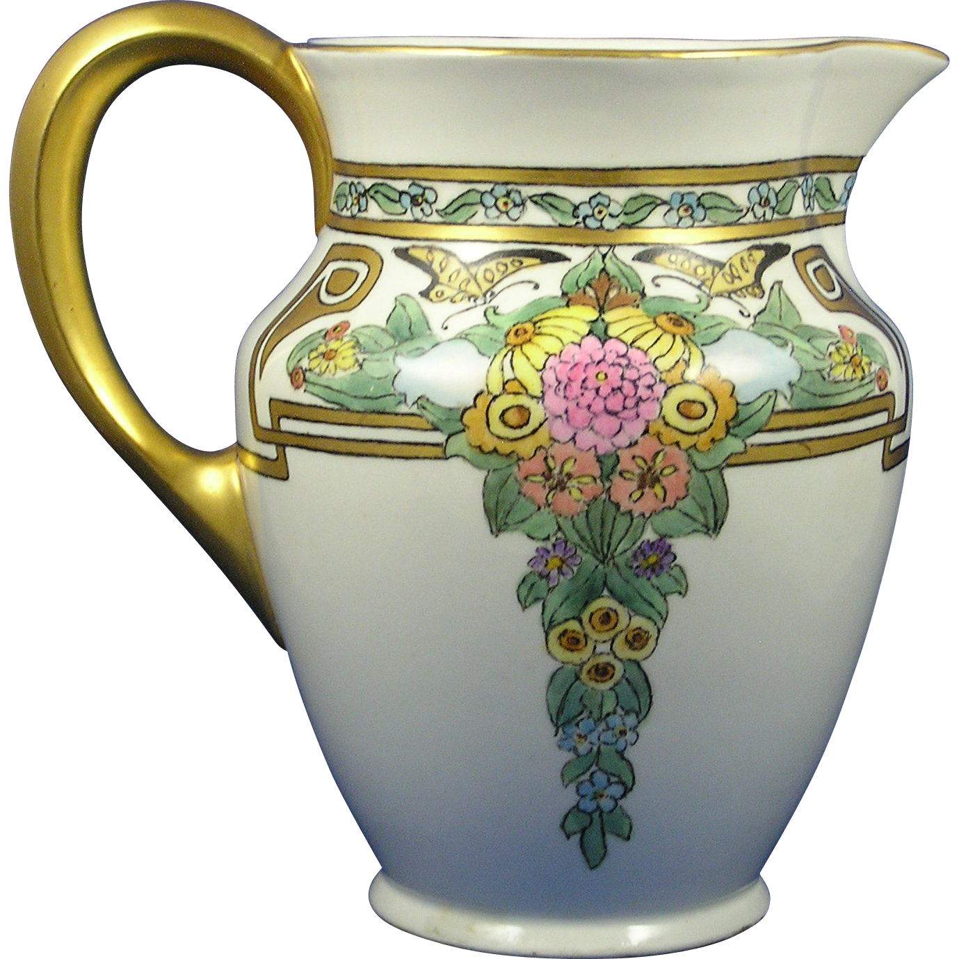 "Bernardaud & Co. (B&Co.) Limoges Arts & Crafts Floral & Butterfly Design Pitcher (Signed ""Moser""/c.1900-1914)"