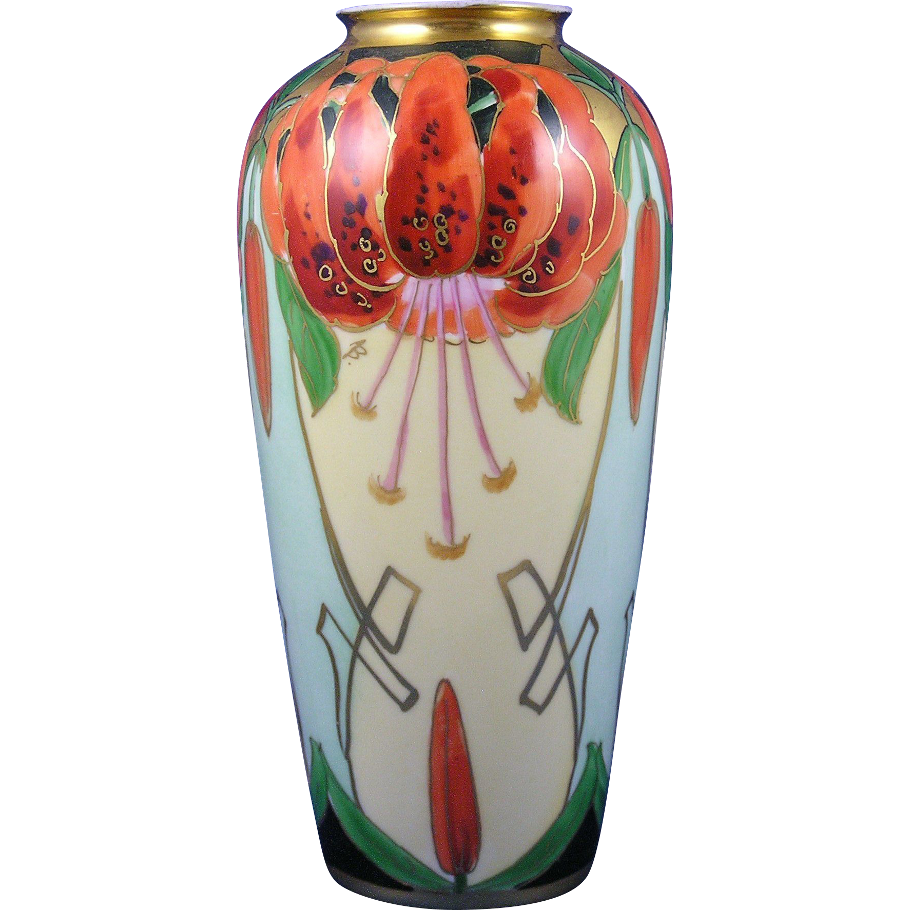 "Julius Brauer Studios Arts & Crafts ""Tiger Lily"" Design Vase (Signed ""B"" for Max L. Bachman/c.1910-1916)"