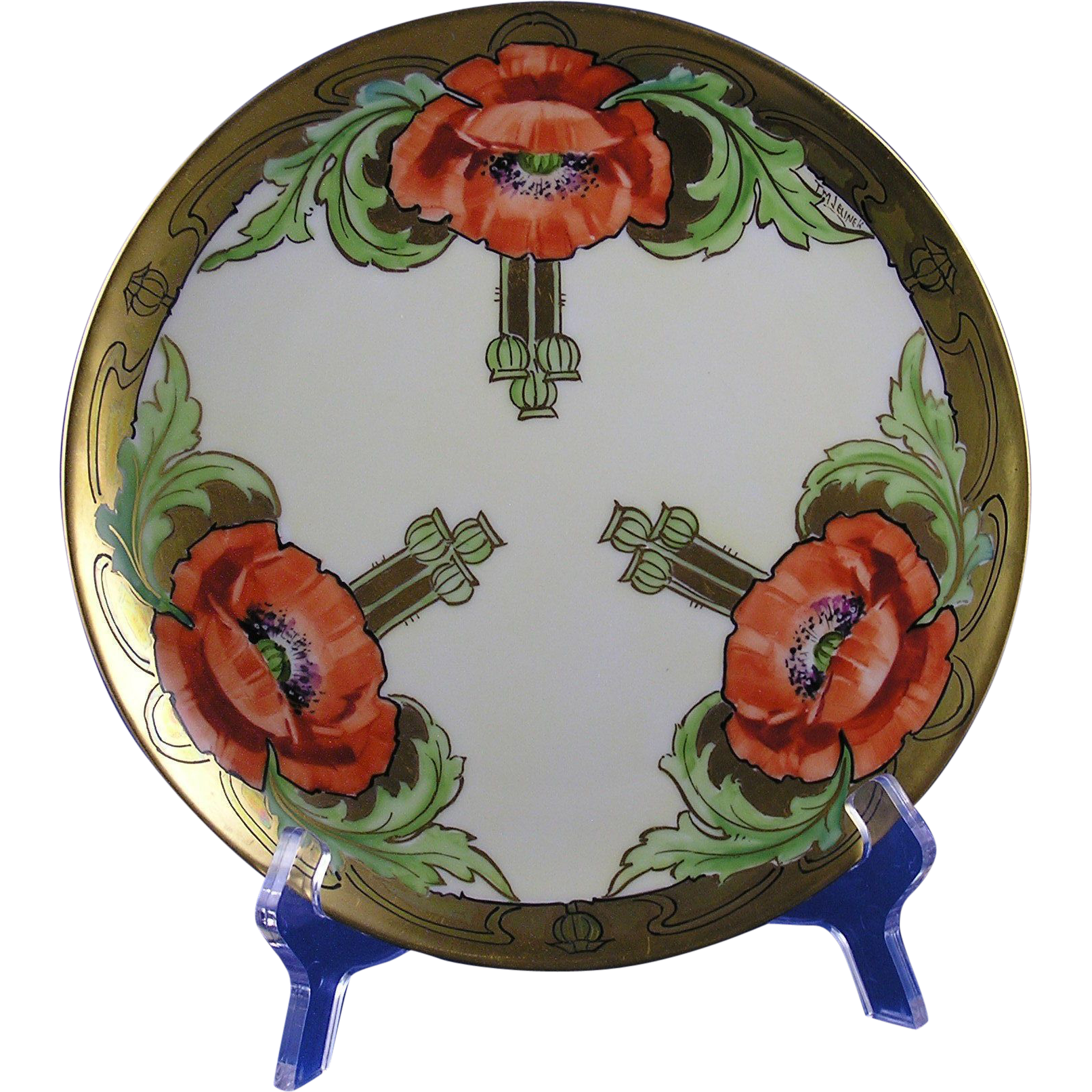 "Haviland Limoges Stouffer Studios Poppy Design Plate (Signed ""T.M. Jelinek""/c.1906-1914)"