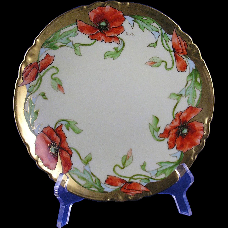 """Klingenberg & Dwenger (AKD) Limoges Stouffer Studios Poppy Design Plate (Signed """"ESP""""/c.1906-1914)"""
