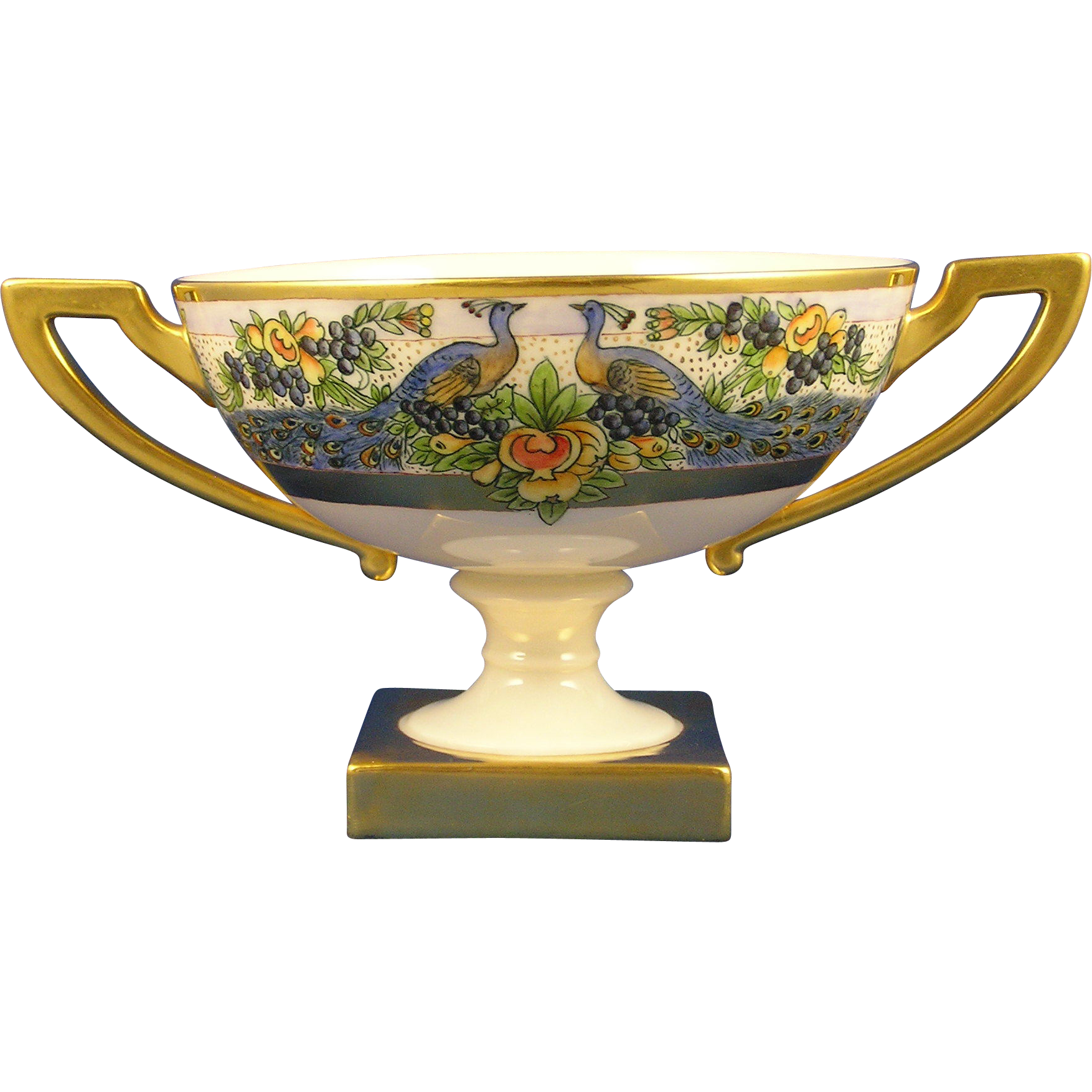 Lenox Belleek Arts & Crafts Peacock Design Pedestal Bowl (c.1909-1924) - Keramic Studio Design