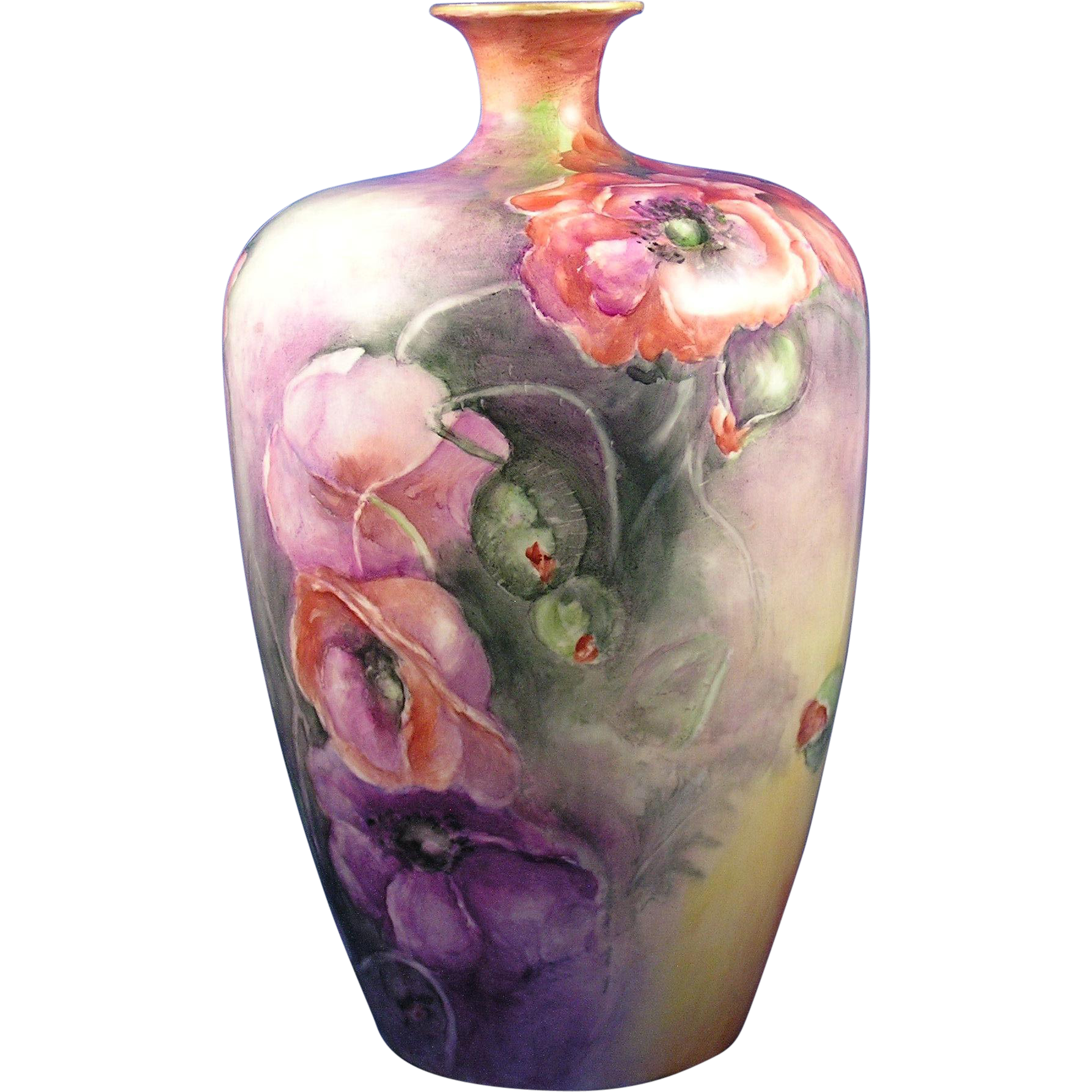 Large Willetts Belleek Poppy Motif Vase (c.1879-1912)