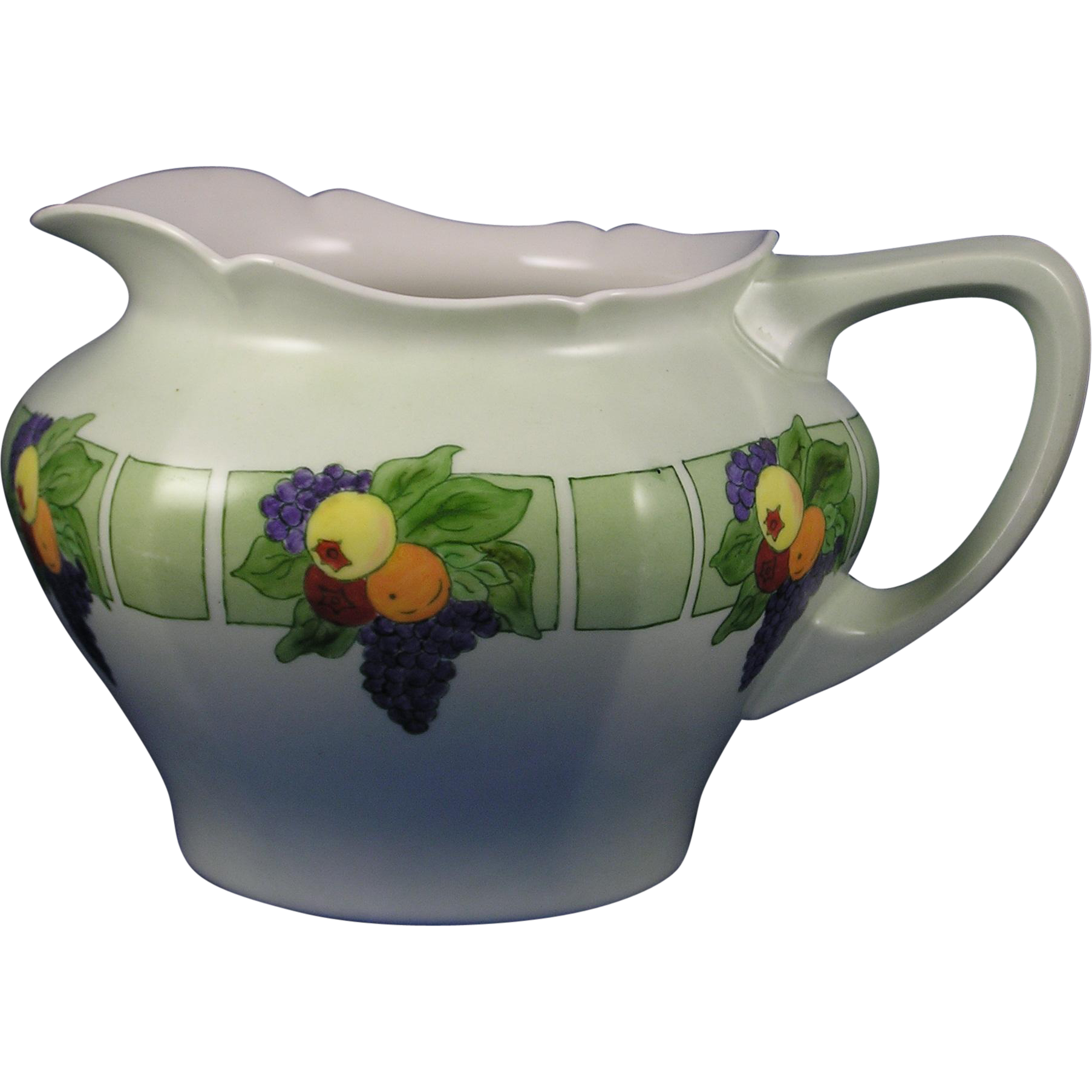 "Jean Pouyat (JP) Limoges Arts & Crafts Fruit Motif Cider Pitcher (Signed ""M.E. Murphy""/c.1908-1920)"