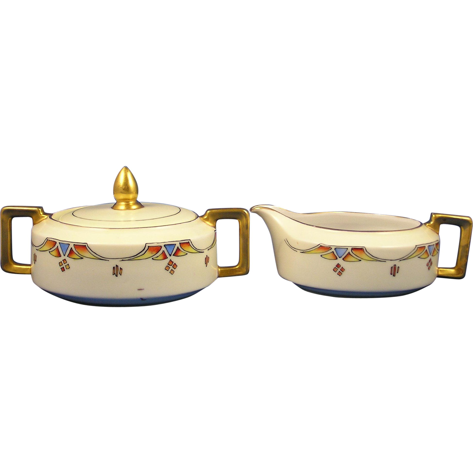 Heinrich & Co. (H&Co.) Selb Bavaria Art Deco Creamer & Sugar Set (c.1910-1935)