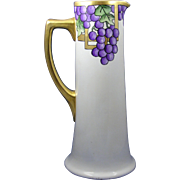"PH Leonard Austria Arts & Crafts Grape Motif Pitcher/Ewer (Signed ""RMS""/c.1890-1908)"
