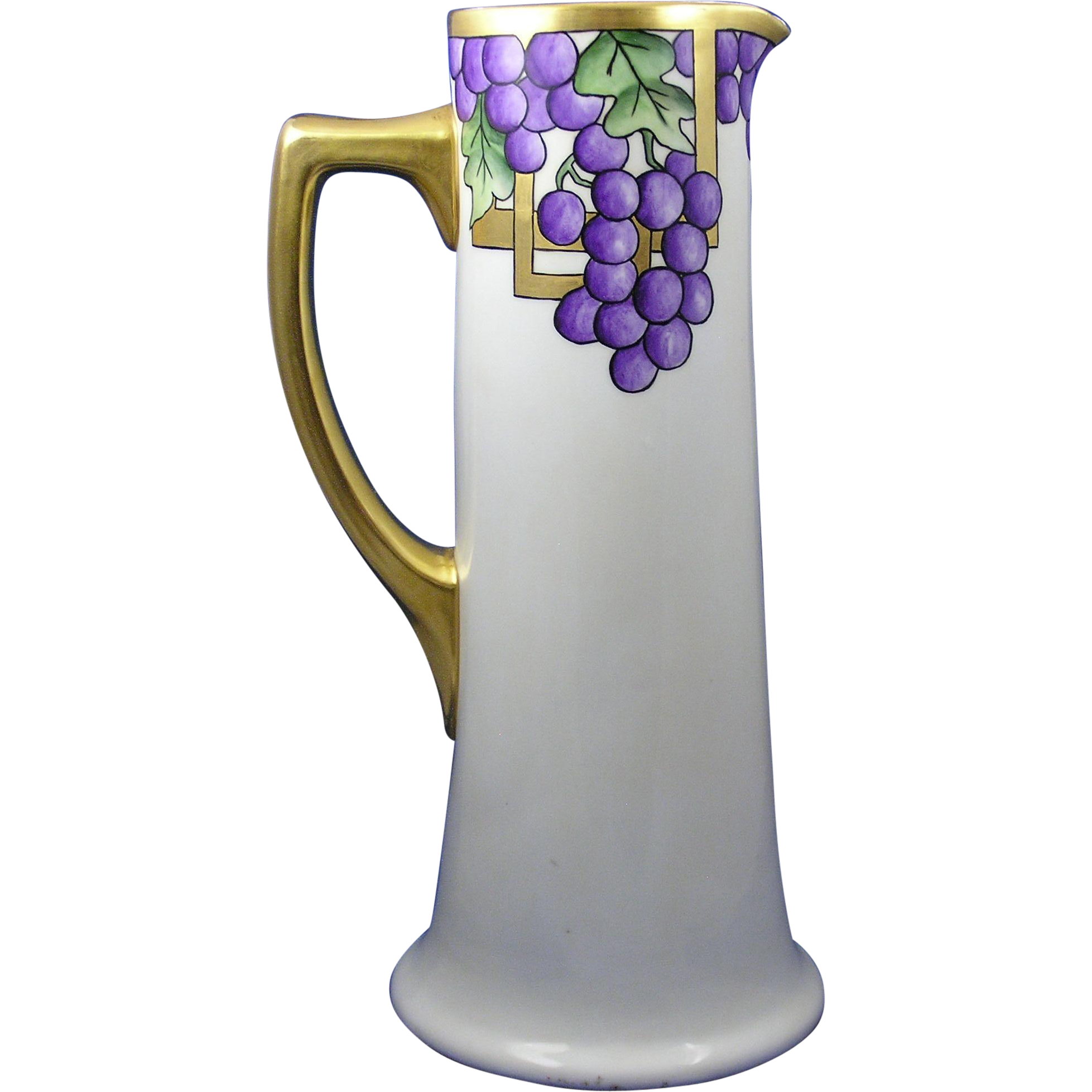 "PH Leonard Austria Arts & Crafts Grape Motif Pitcher/Ewer (Signed ""RMS""/c.1890-1908)"