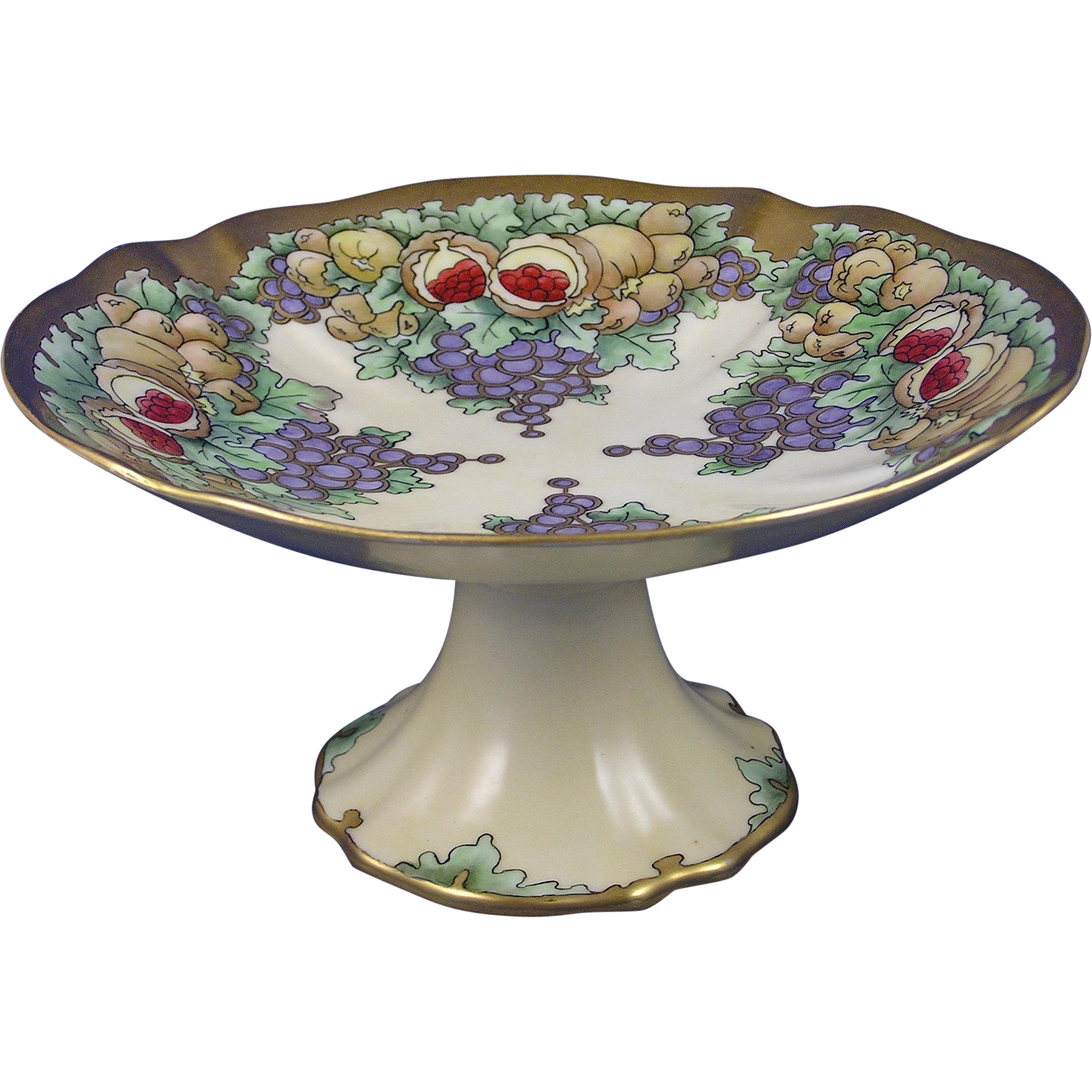 "Porcelain Limousine (PL) Limoges Fruit Motif Centerpiece Pedestal Dish (Signed ""Bessie Youngblood""/Dated 1920)"