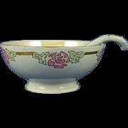 """Haviland Limoges Arts & Crafts Floral Motif Lustre Bowl & Spoon (Signed """"Pearl Chandler Stivers""""/c.1894-1931)"""