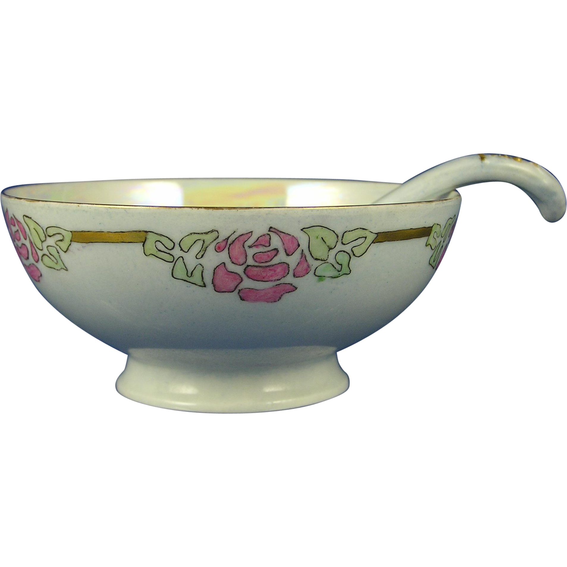 "Haviland Limoges Arts & Crafts Floral Motif Lustre Bowl & Spoon (Signed ""Pearl Chandler Stivers""/c.1894-1931)"