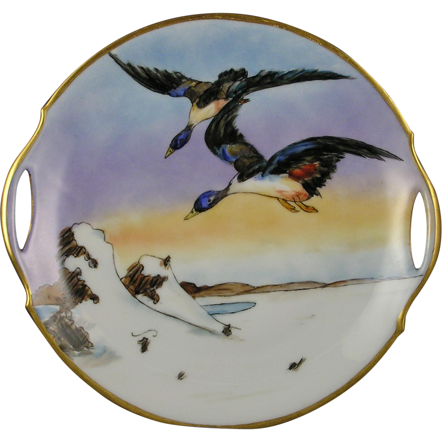 "Bavaria Arts & Crafts Duck Motif Handled Plate (Signed ""L.E. Schandis""/c.1910-1930)"