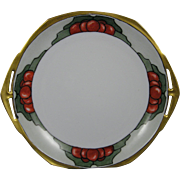 "Moritz Zdekauer (MZ) Austria Arts & Crafts Fruit Motif Handled Plate (Signed ""M.W. Blackburn""/c.1884-1909)"