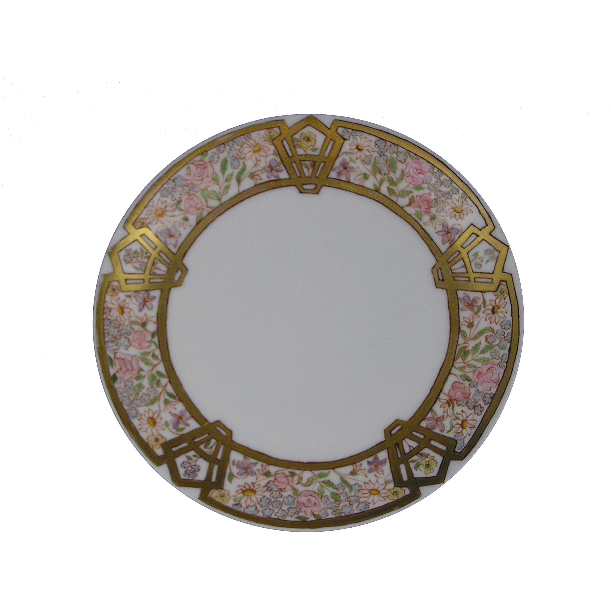 Thomas Bavaria Enameled Floral Design Plate (c.1920-1940)