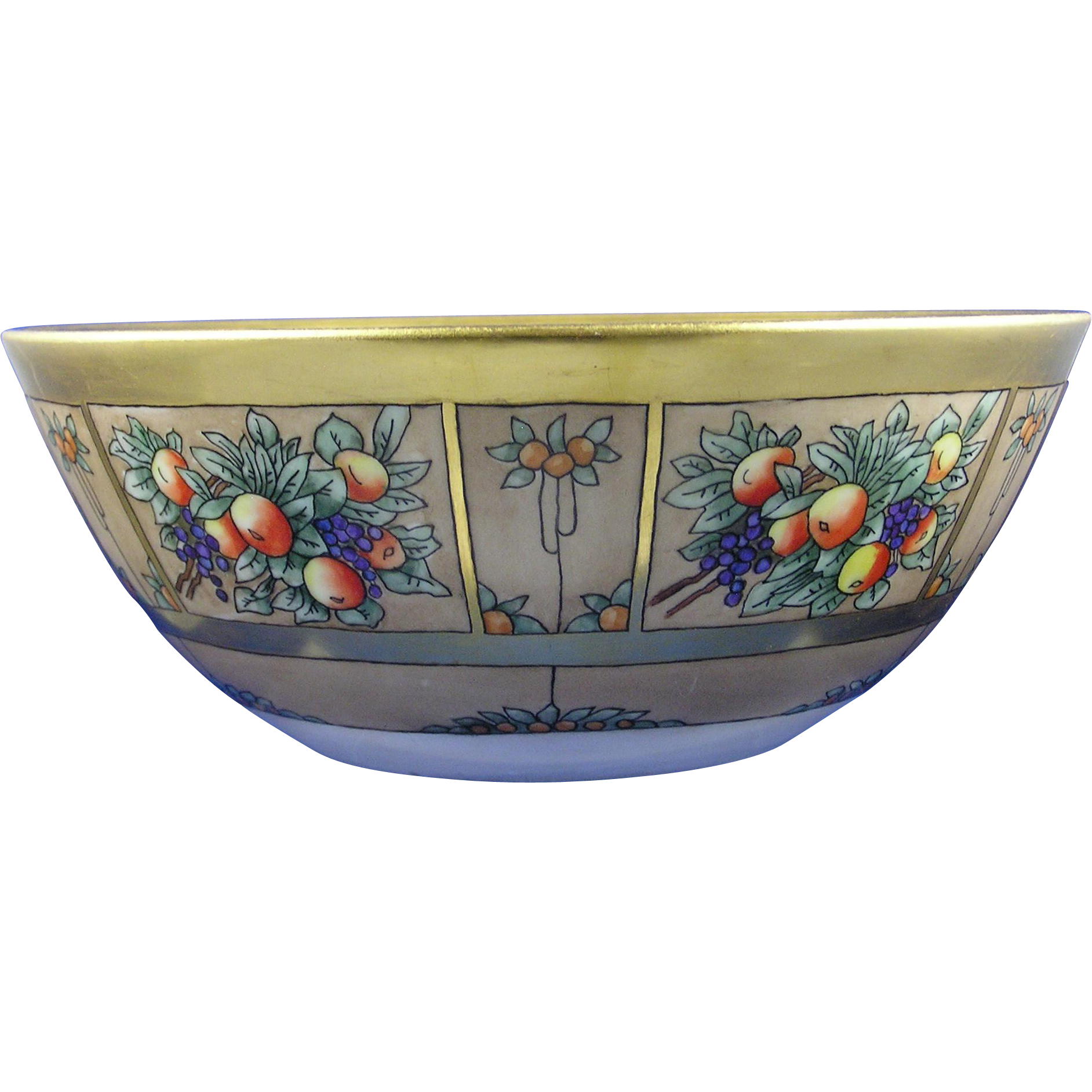 "Bernardaud & Co. (B&Co.) Limoges Arts & Crafts Fruit Design Centerpiece Bowl (Signed ""Bessie Mae Wolfe""/Dated 1916)"