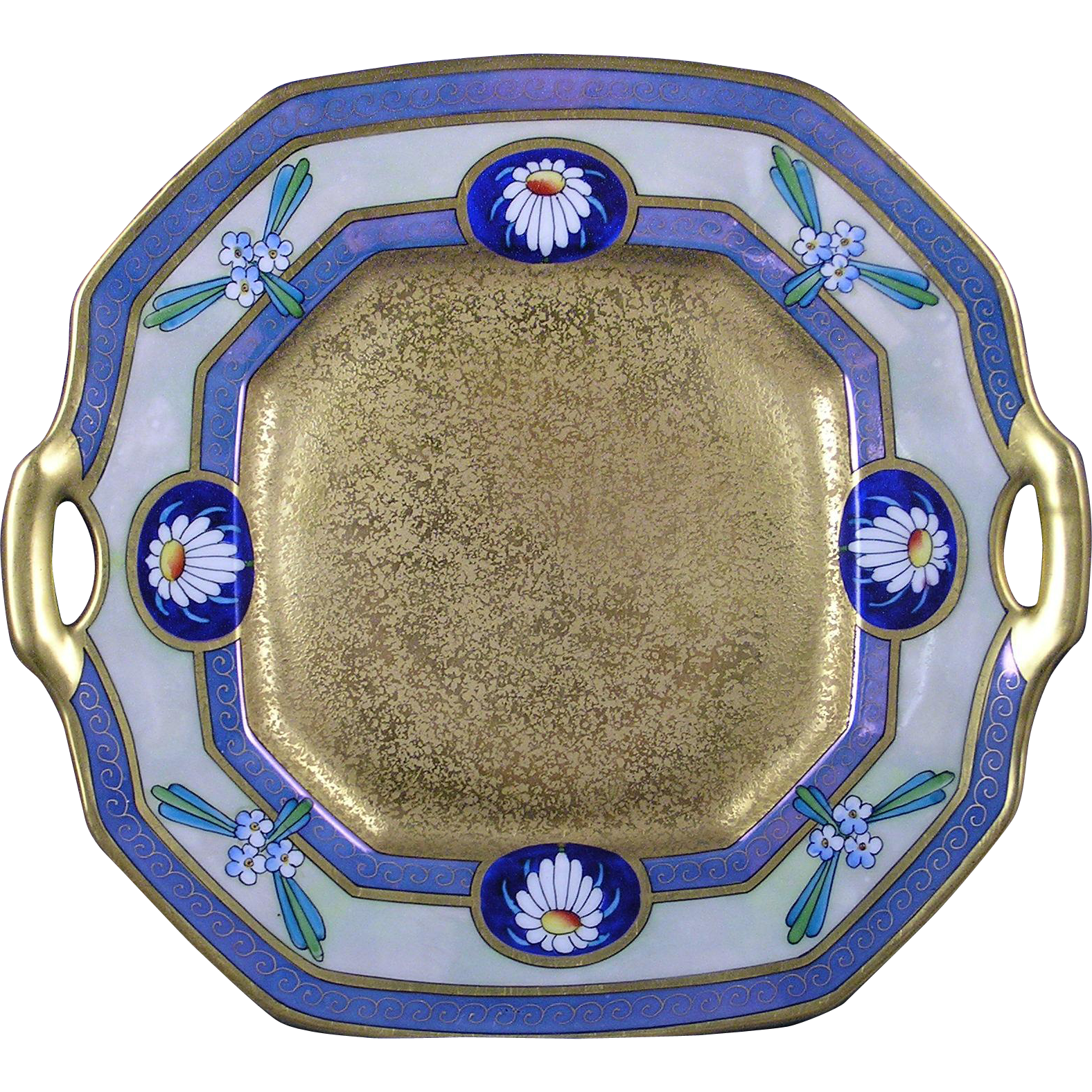 "Pickard Studios ""Encrusted Linear"" Design Handled Plate (c.1912-1918)"