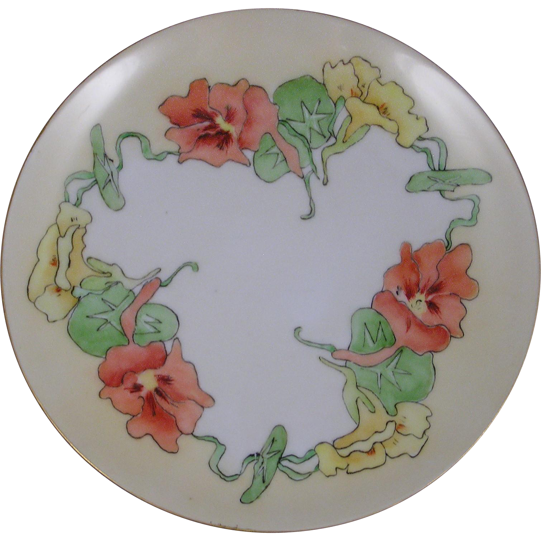 "Moritz Zdekauer (MZ) Austria Arts & Crafts Nasturtium Motif Plate (Signed ""M. Wiechard""/c.1884-1909)"