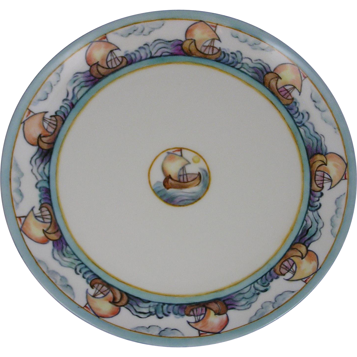 "Haviland Limoges Arts & Crafts Sailboat Motif Plate (Signed ""EBM""/Dated 1933)"