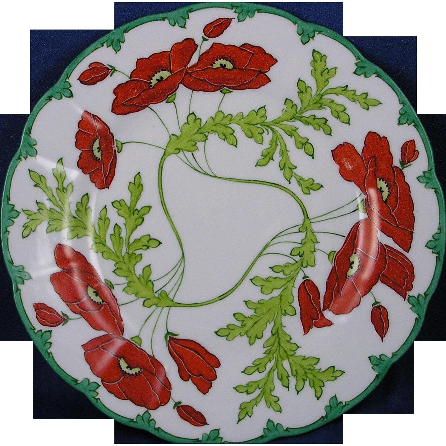 Charles Ahrenfeldt & Son Altrohlau Austria Saxe Poppy Motif Plate (c.1886-1910)