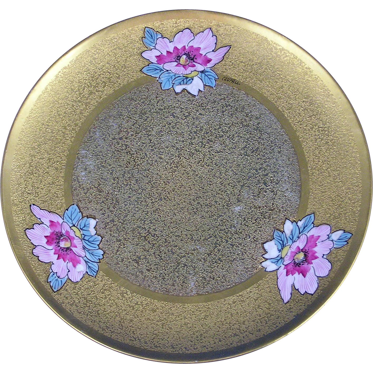 "Stouffer Studios Encrusted Gold & Enameled Flowers Plate (Signed ""Coufall""/c.1914-1918)"