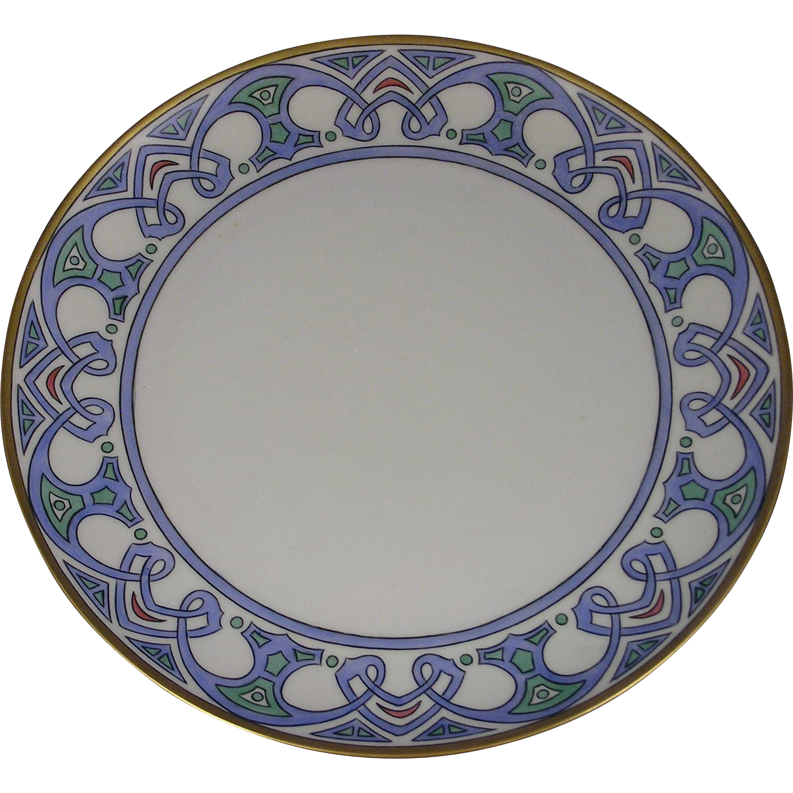Haviland Limoges Arts & Crafts Geometric Design Plate (c.1909-1931) - Keramic Studio Design
