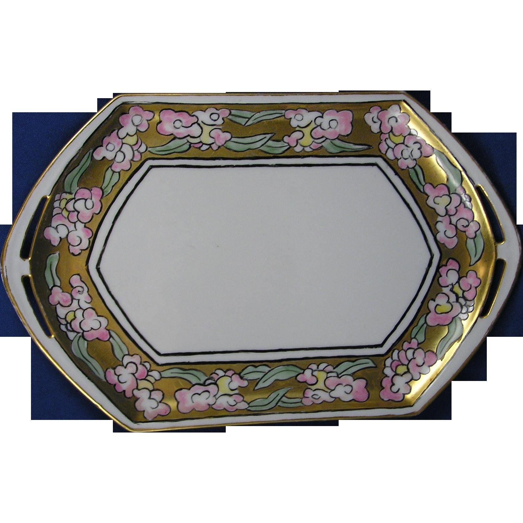 Moritz Zdekauer (MZ) Austria Arts & Crafts Pink Floral Motif Tray (c.1884-1909)