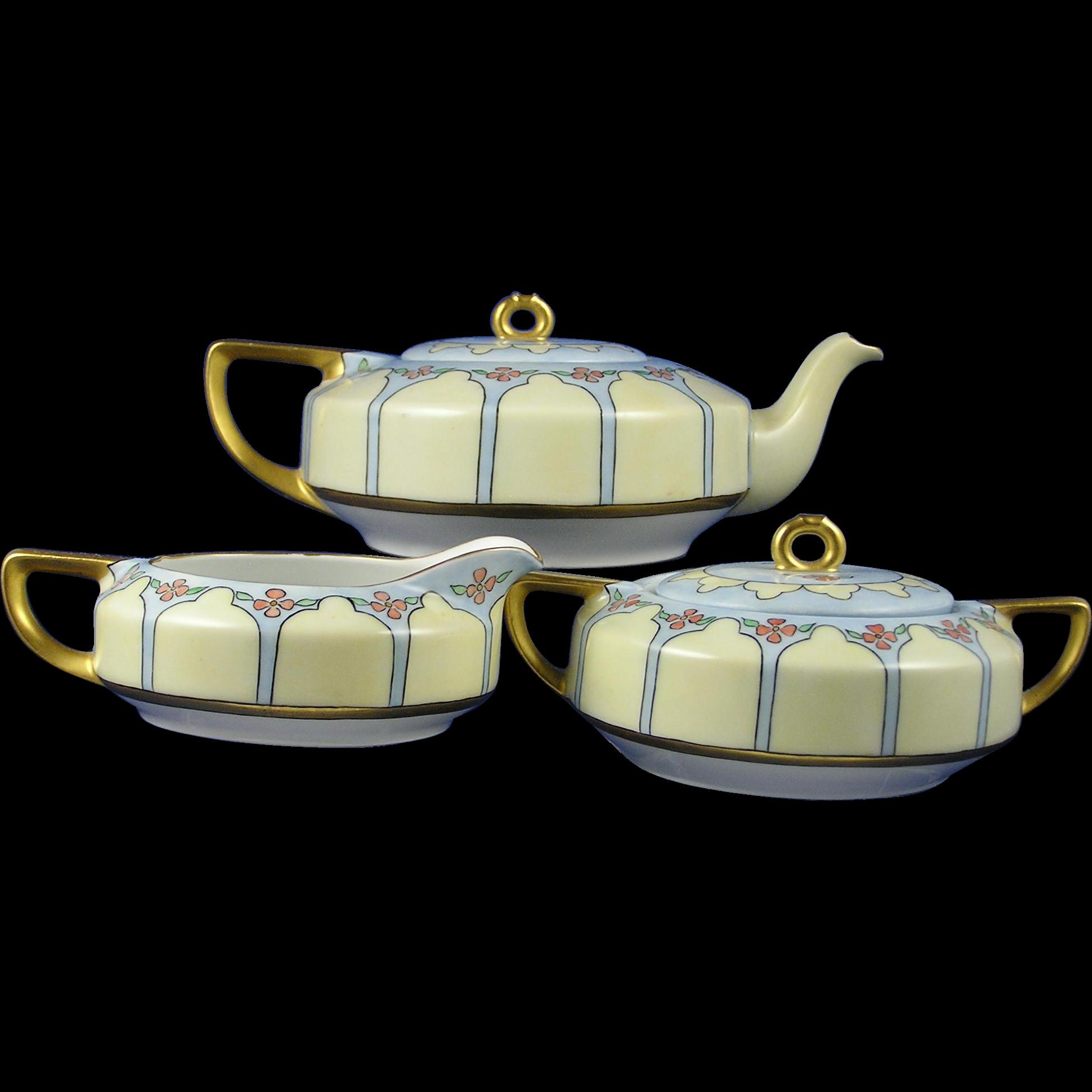 Oscar & Edgar Gutherz (O&EG) Austria Arts & Crafts Floral Motif Teapot, Creamer & Sugar Set (c.1899-1918)