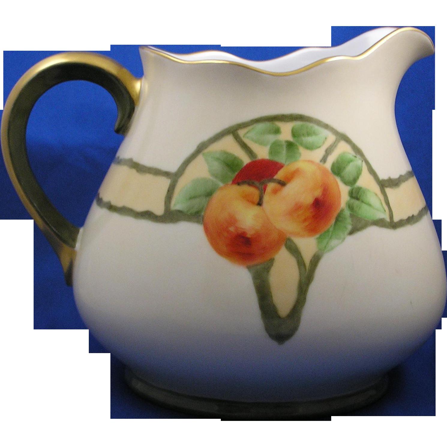 "Thomas Bavaria Arts & Crafts Apple Motif Pitcher (Signed ""M. Harrison""/c.1910-1930)"