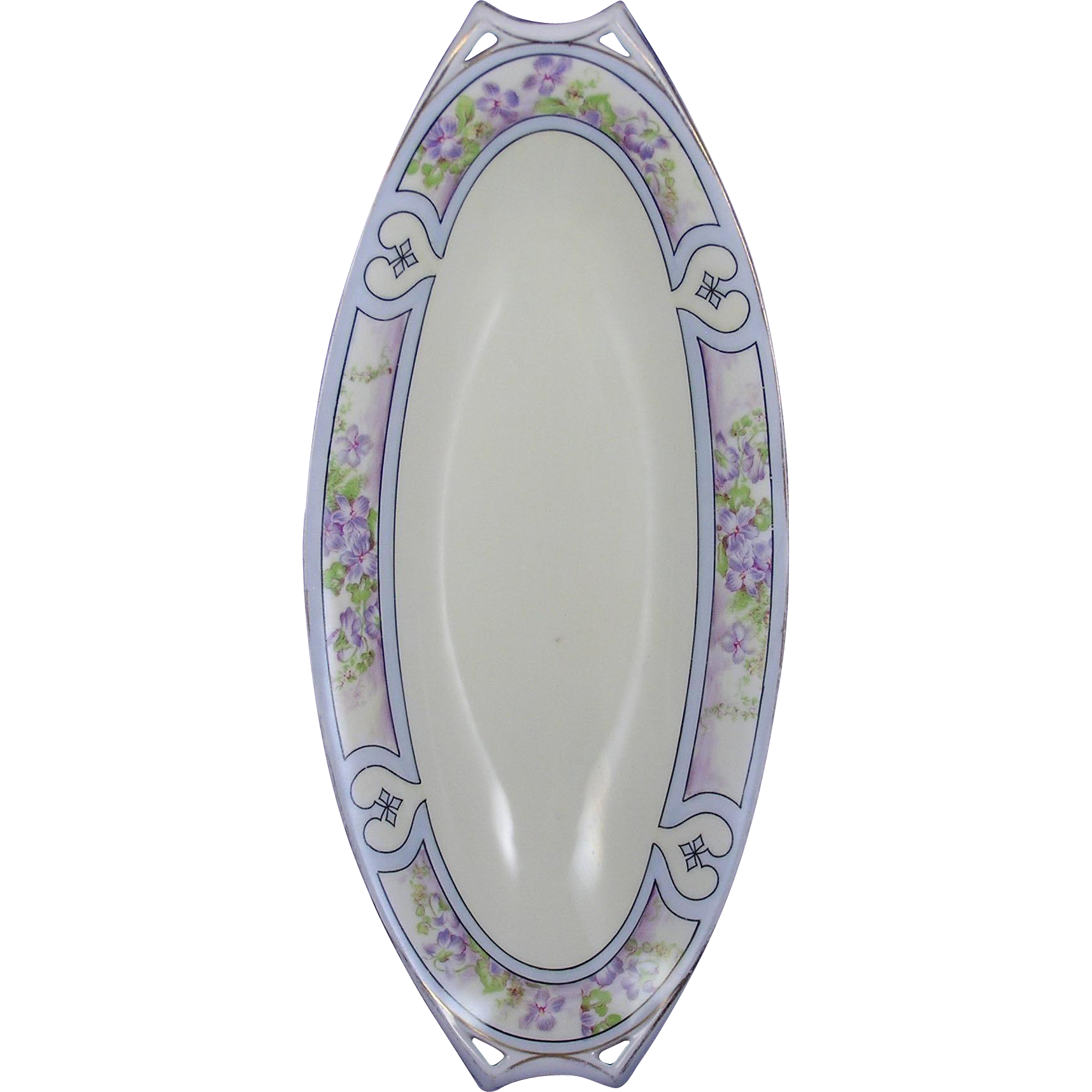 Hutschenreuther Bavaria Arts & Crafts Violet Motif Serving Dish (c.1930-1940)