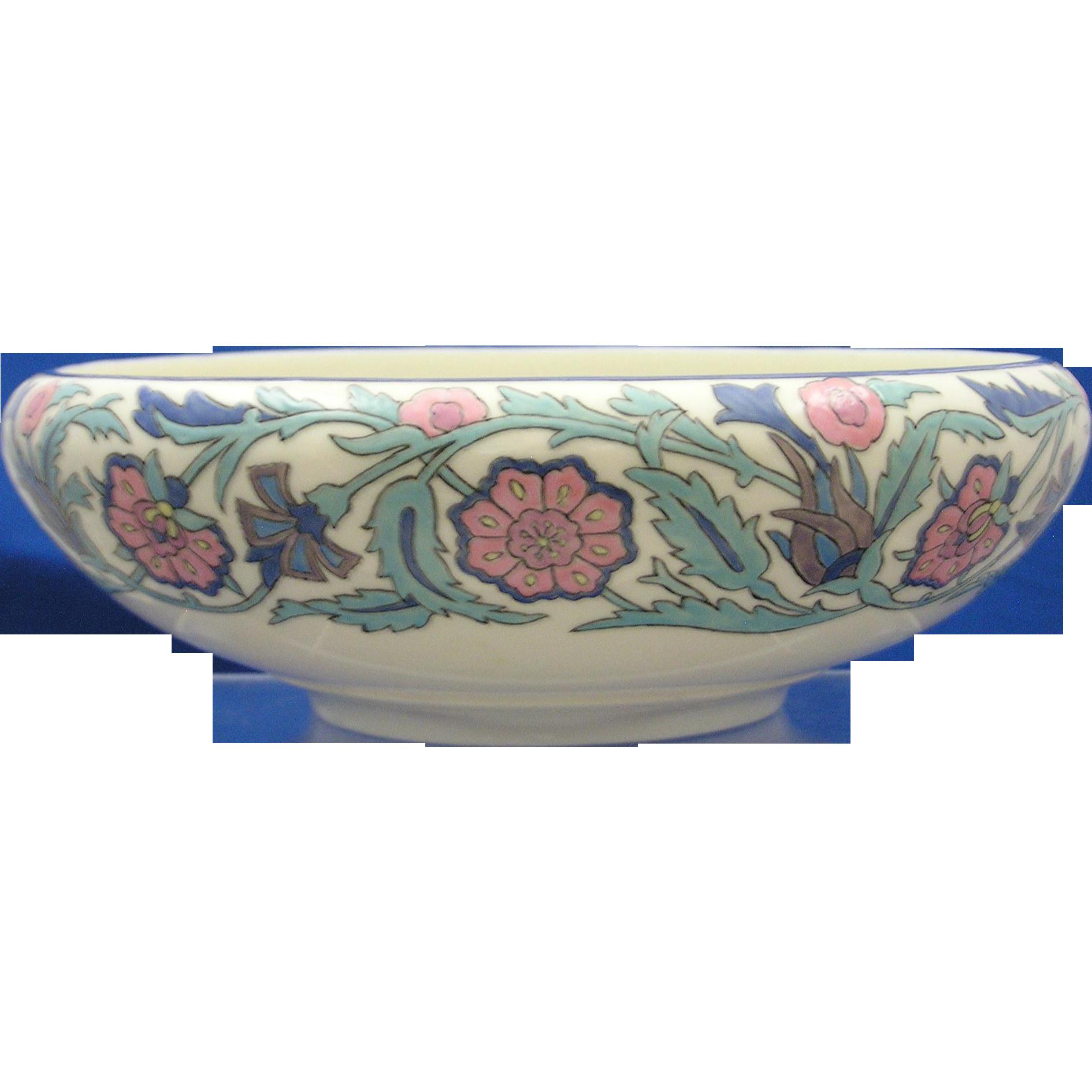 Willets Belleek Arts & Crafts Enameled Floral Motif Bowl (c.1879-1912)