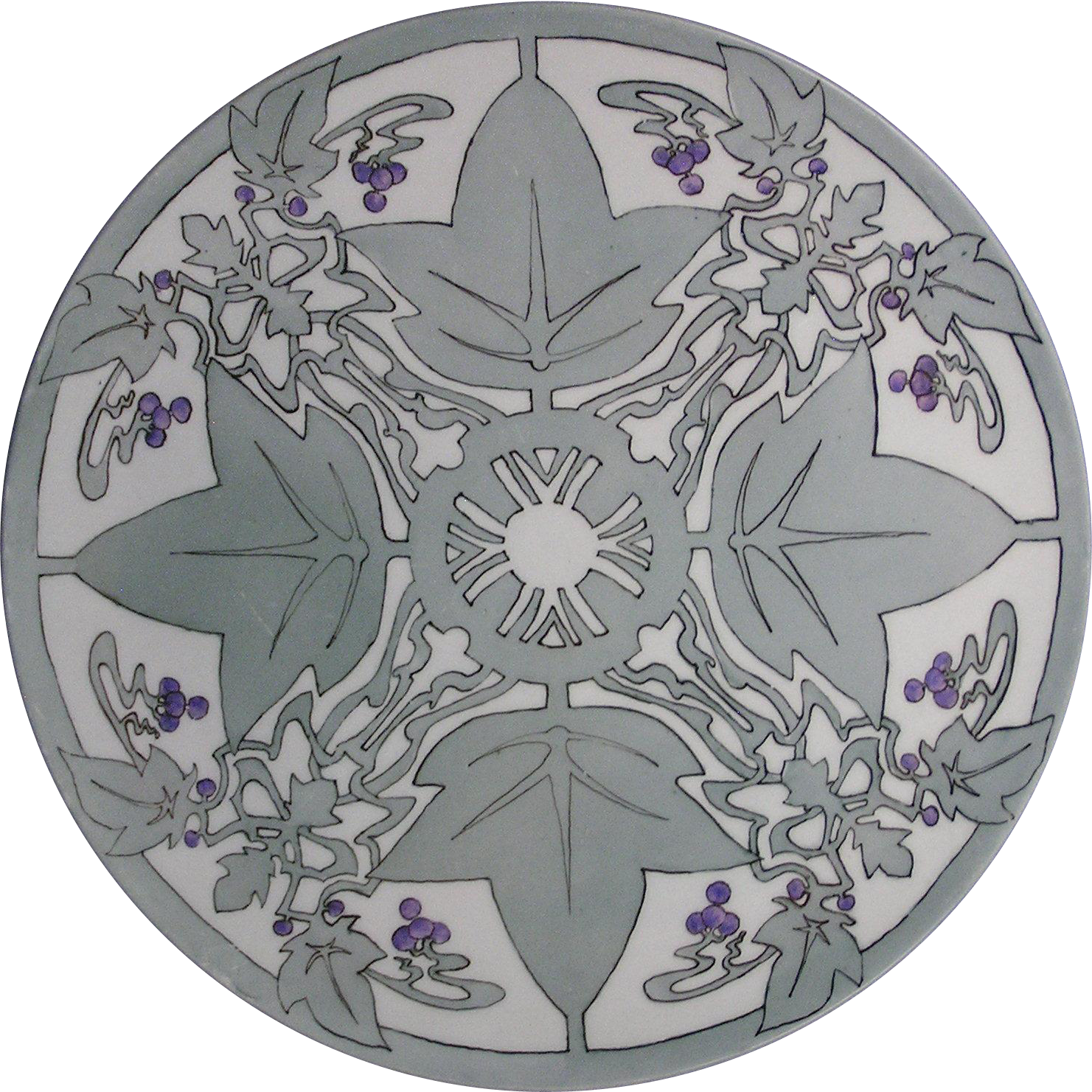 """Tressemann & Vogt (T&V) Limoges Arts & Crafts Grape Motif Tray/Charger (Signed """"R.I.G.""""/Dated 1908)"""