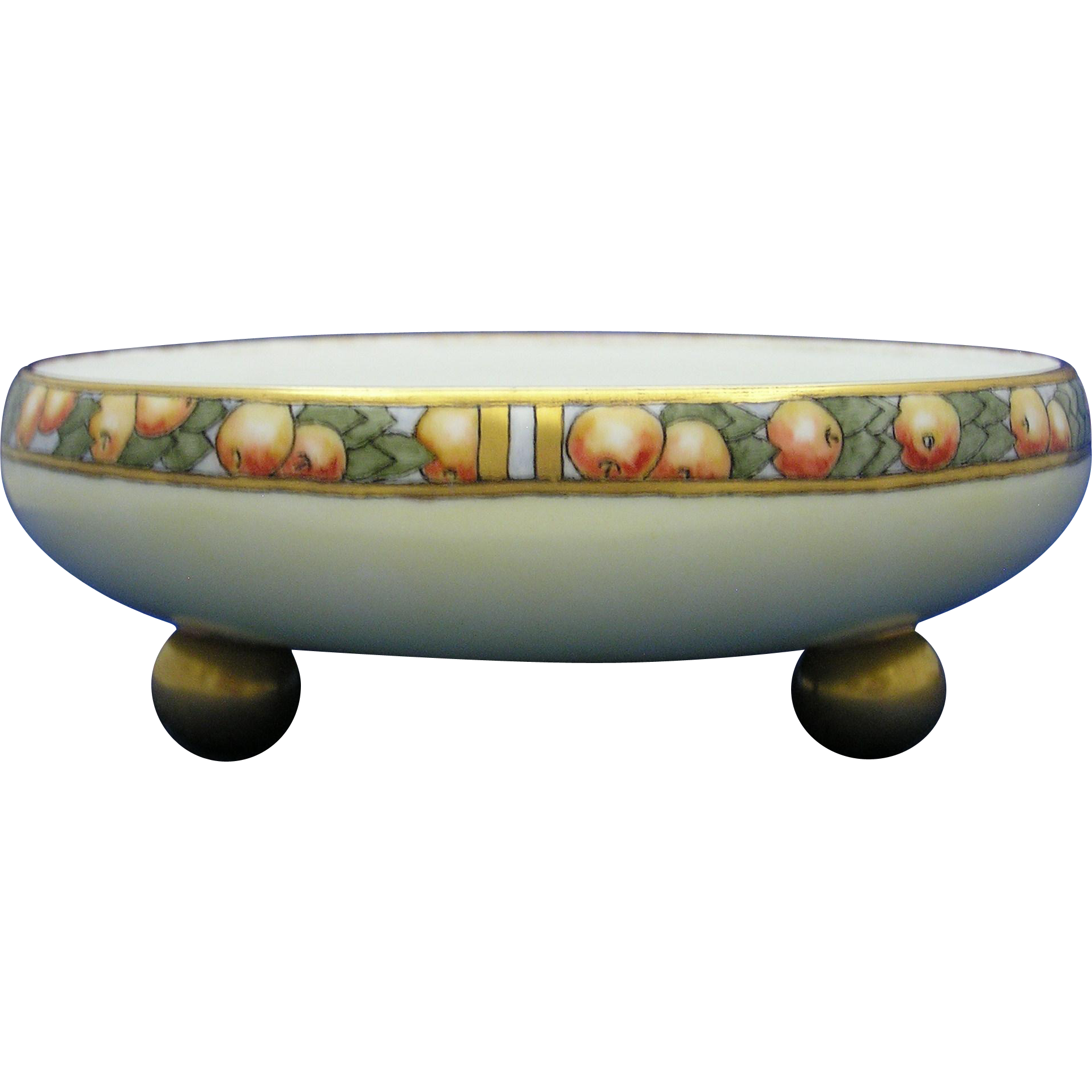 "Tressemann & Vogt (T&V) Limoges Citrus Fruit Motif Footed Bowl (Signed ""Huldah""/Dated 1917)"