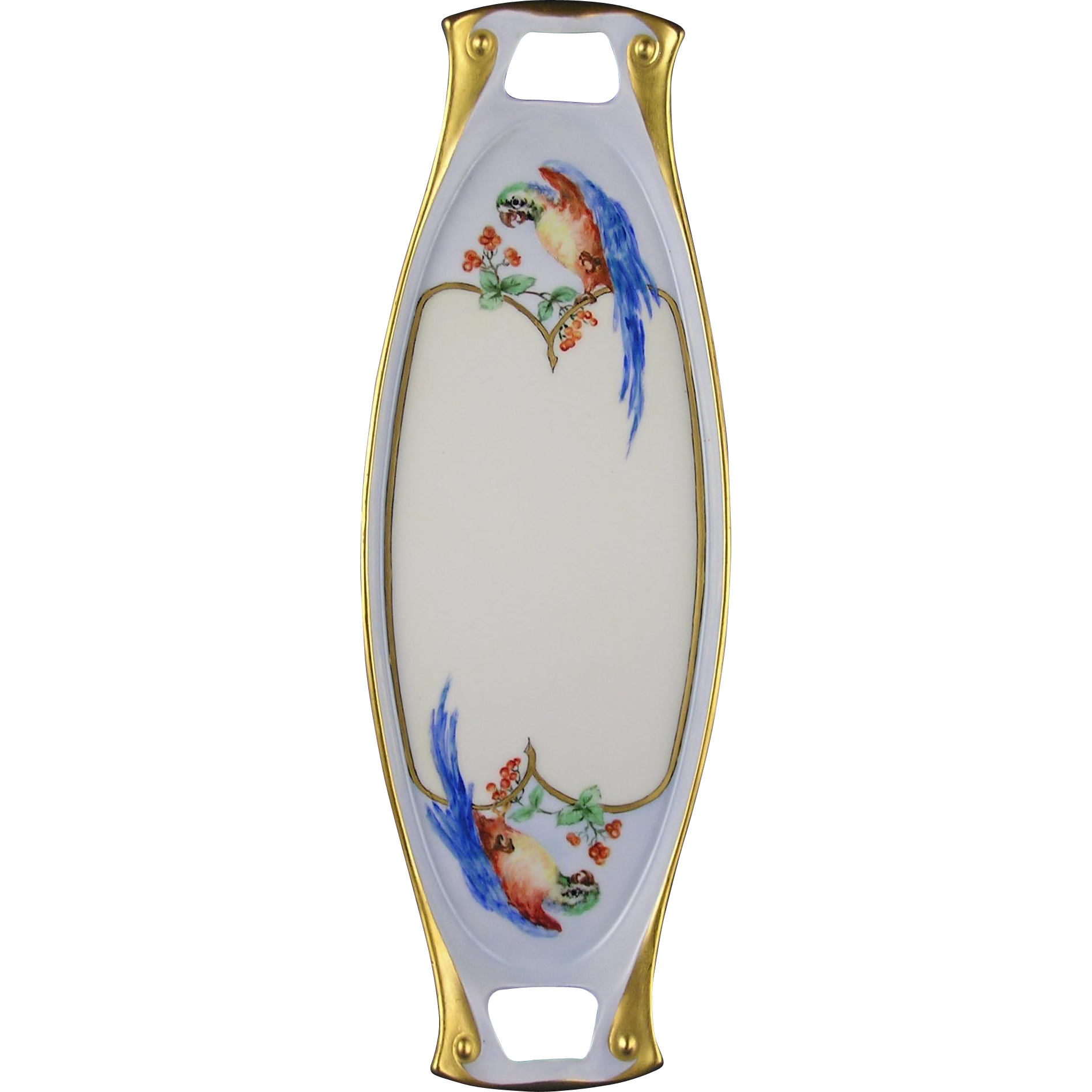 "Epiag Czechoslovakia Arts & Crafts Parrot Design Handled Tray (Signed ""S. Williamson""/c.1918-1936)"