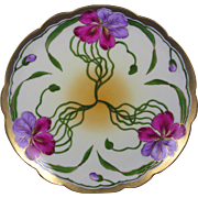 Jaeger & Co. (JC) Bavaria Wheelock China Studio Pansy Design Plate (c.1920-1940)