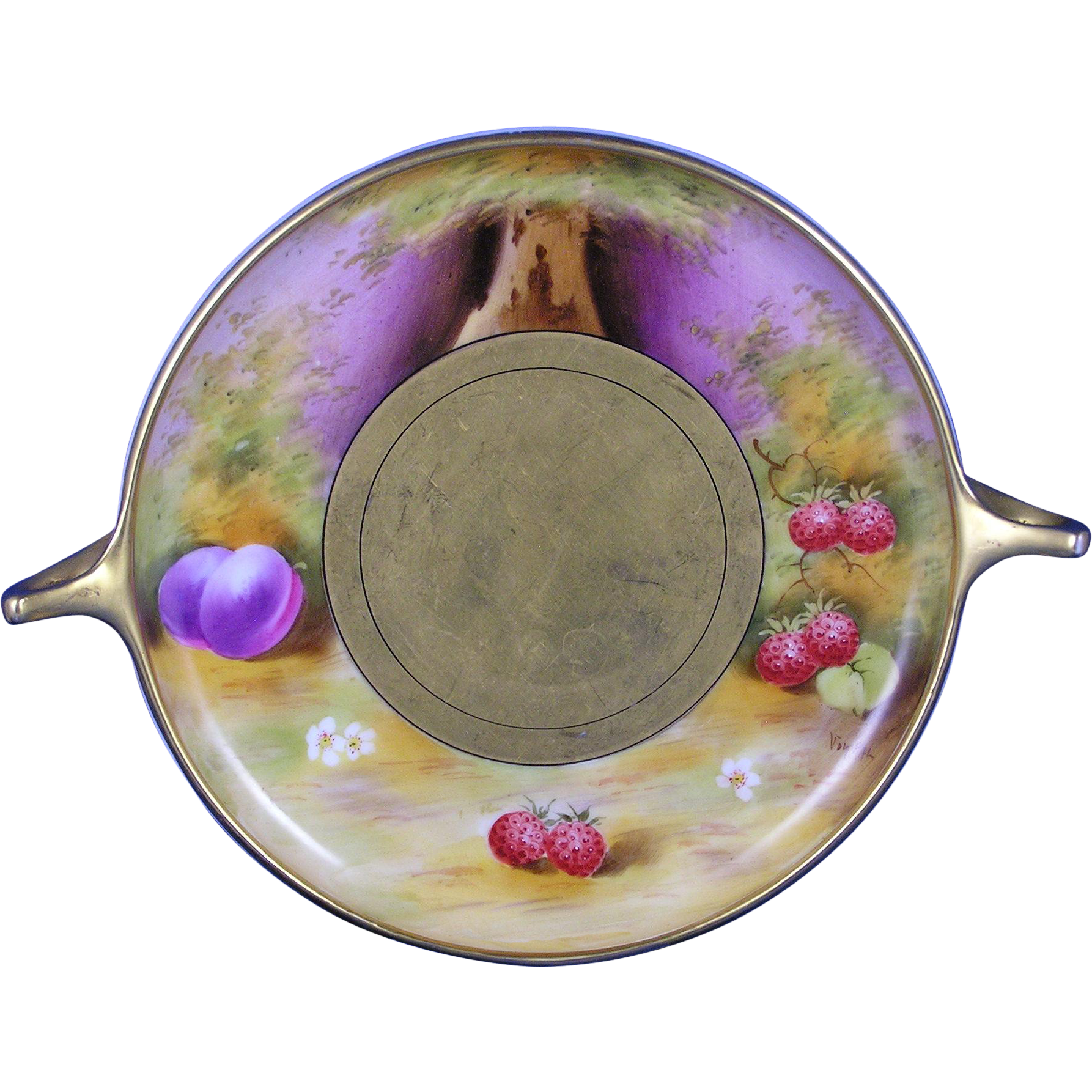 "Pickard Studios ""Deserted Garden"" Design Handled Serving Plate/Dish (Signed ""Vokral""/c.1912-1918)"
