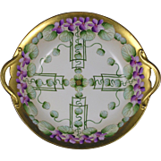 "Pickard Studios ""Violets in Panel"" Design Handled Bowl (Signed ""AW"" for Albert Wagner /c.1910-1912)"