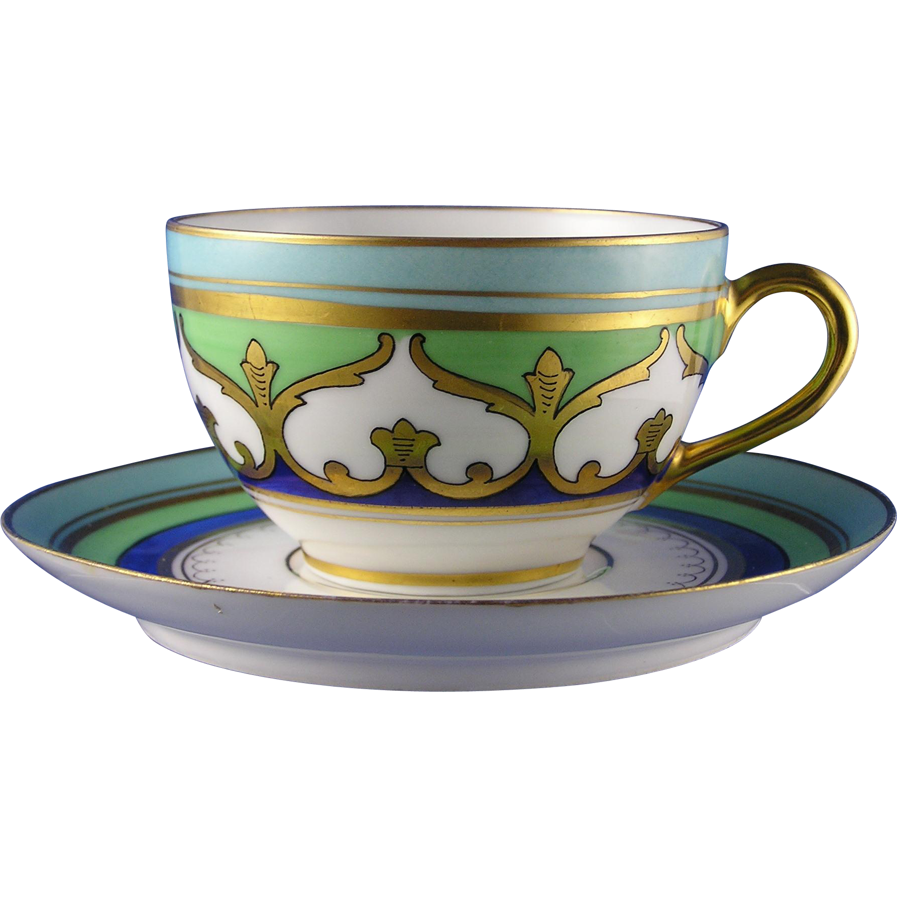 Limoges Mark 6 Stouffer Studios Arabesque Motif Cup & Saucer Set (c.1906-1914)