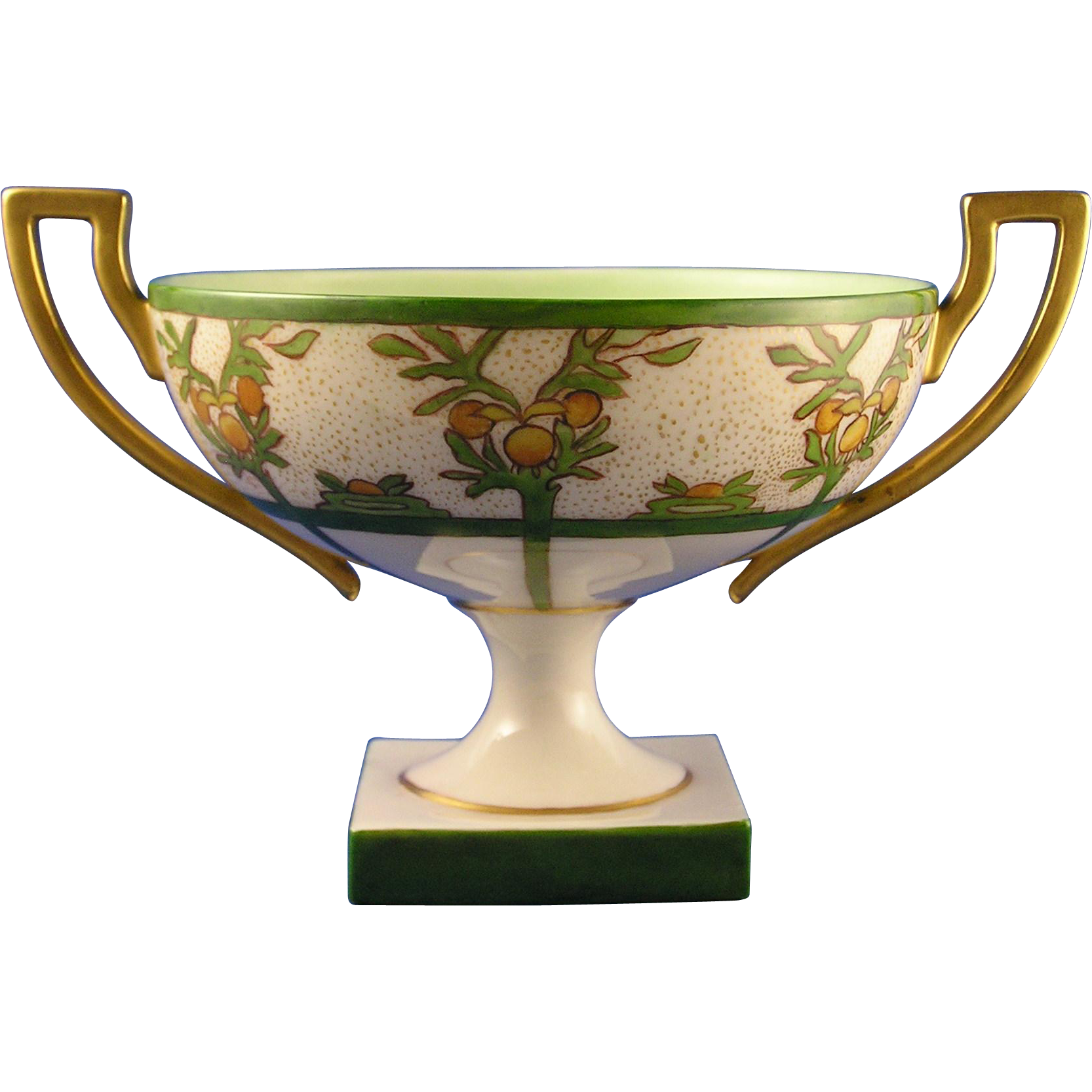 Willets Belleek Citrus Motif Handled & Footed Bowl (c.1879-1912)