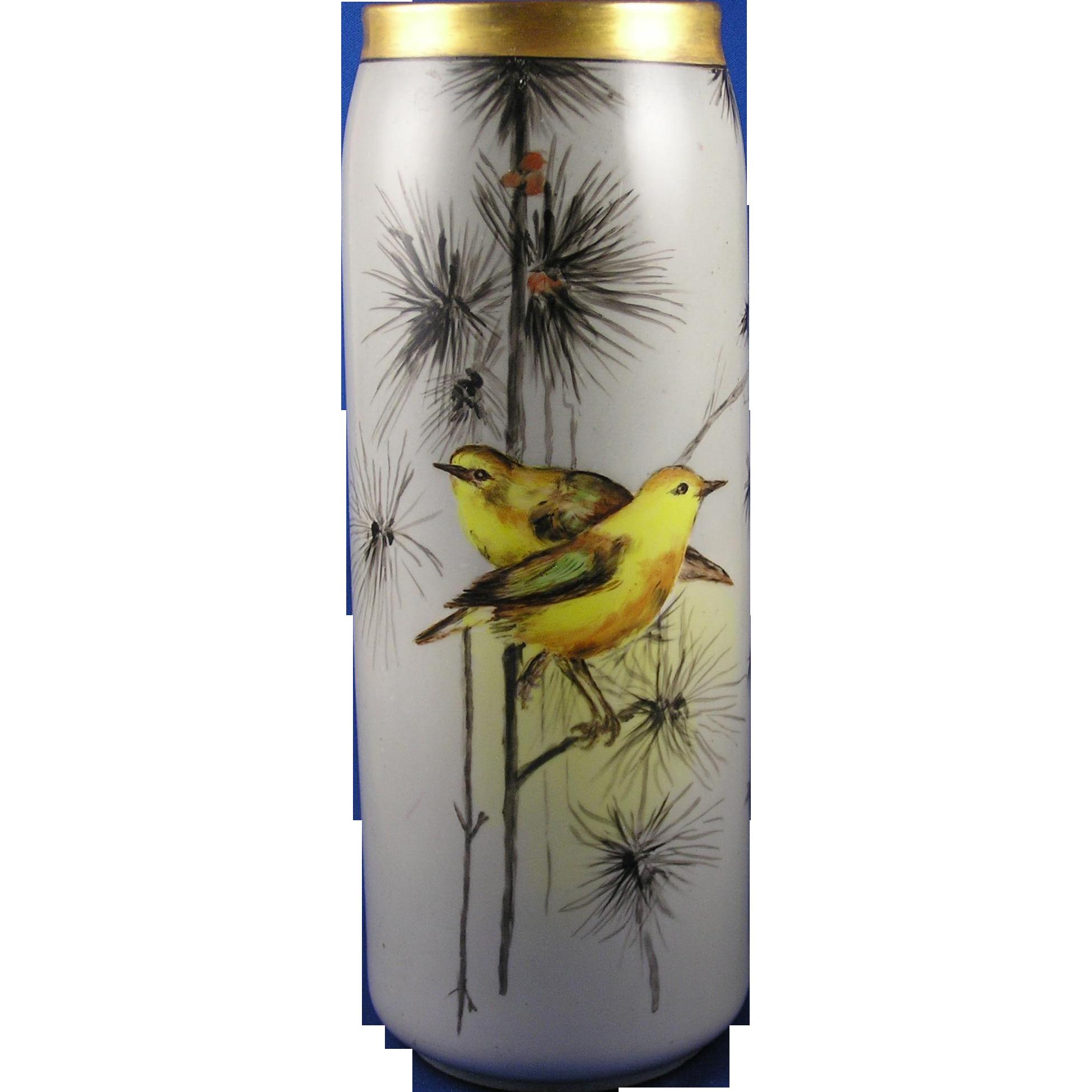 "Moritz Zdekauer (MZ) Austria Arts & Crafts Bird Motif Vase (Signed ""M.L.S.""/c.1884-1909)"